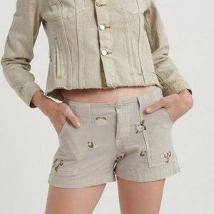 Lucky Brand Cargo Short Embroidered Shorts Size 24